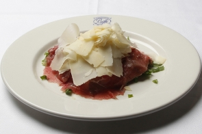 Beef Carpaccio with Rocked Salad and Parmesan Cheese Flakes